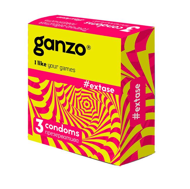 Презервативы GANZO NEW EXTASE Точечно-ребристые, 3 шт.