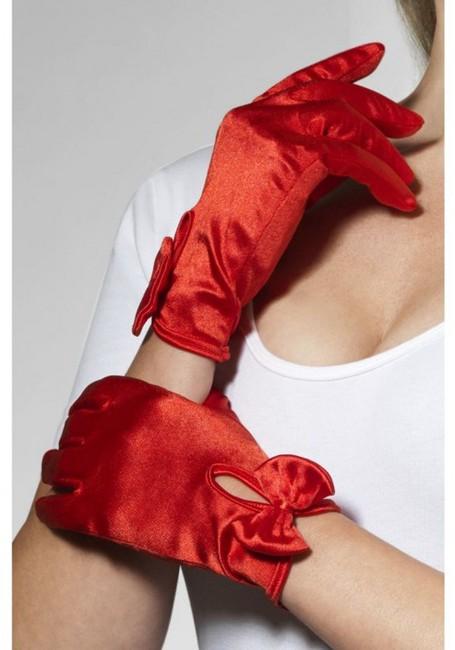 Красные атласные перчатки с бантиком Леди (42-48)