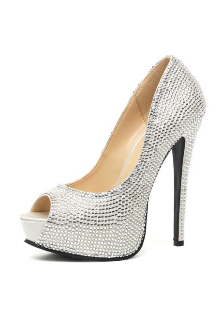Шикарные серебряные туфли со стразами Glamour 38 (серебряный)