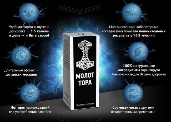 """Капли для повышения потенции """"Молот Тора"""" 10 мл"""