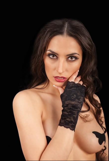 Кружевные перчатки (черный) SM 42-44