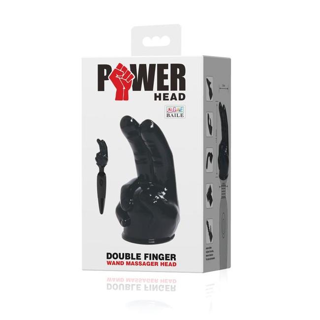 Насадка на вибромасажер Power Head в виде 2-х пальцев (Цвет черный )