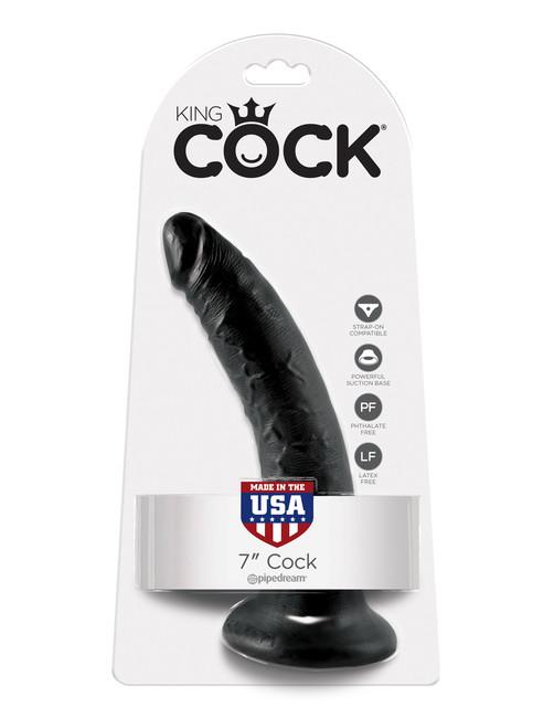 Фаллоимтатор на присоске черный King Cock 7
