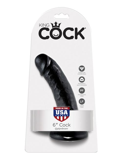 Фаллоимитатор на присоске черный King Cock 6 Cock