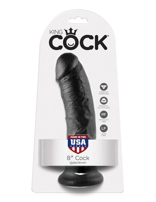 """Черный фаллоимитатор с присоской King Cock 8"""" Cock"""