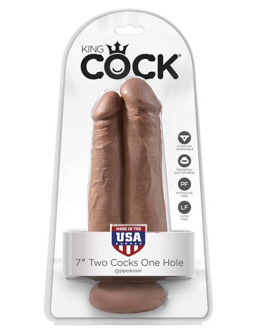 Фаллоимитатор сдвоенный на присоске King Cock 7 Two Cocks One Hole, телесный загорелый