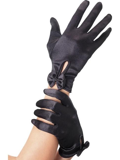 Чёрные атласные перчатки с бантиком Леди  (42-48)